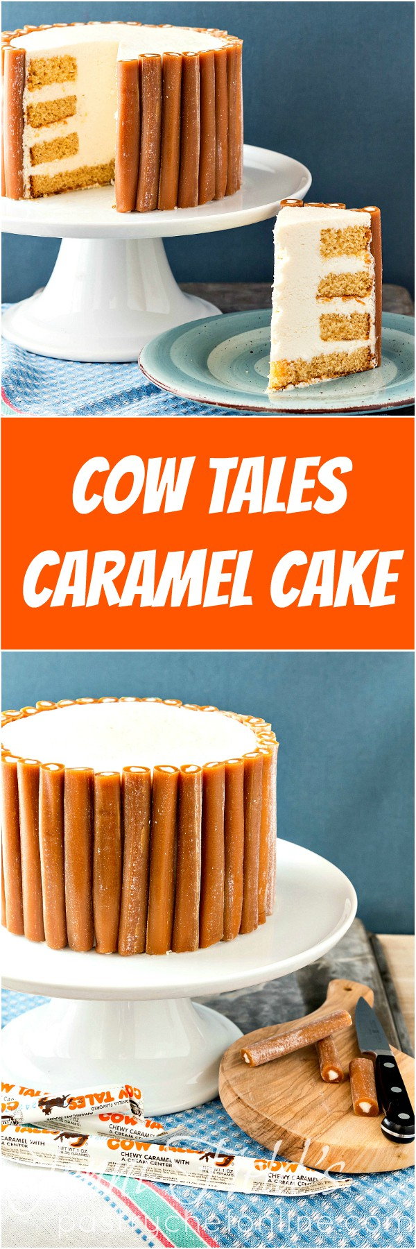 This Cow Tales® Caramel Cake is pure decadence. Four layers of caramel cake with cream between the layers and a core of frosting. Like one big Cow Tales candy surrounded by a bunch of little Cow Tales<sup>®</sup> candies. Enjoy in small pieces! | pastrychefonline.com