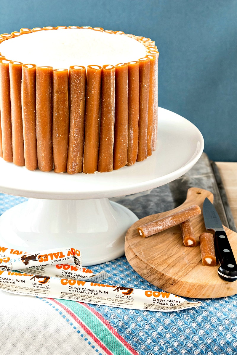 This Cow Tales® Caramel Cake is pure decadence. Four layers of caramel cake with cream between the layers and a core of frosting. Like one big Cow Tales candy surrounded by a bunch of little Cow Tales candies. Enjoy in small pieces! | pastrychefonline.com