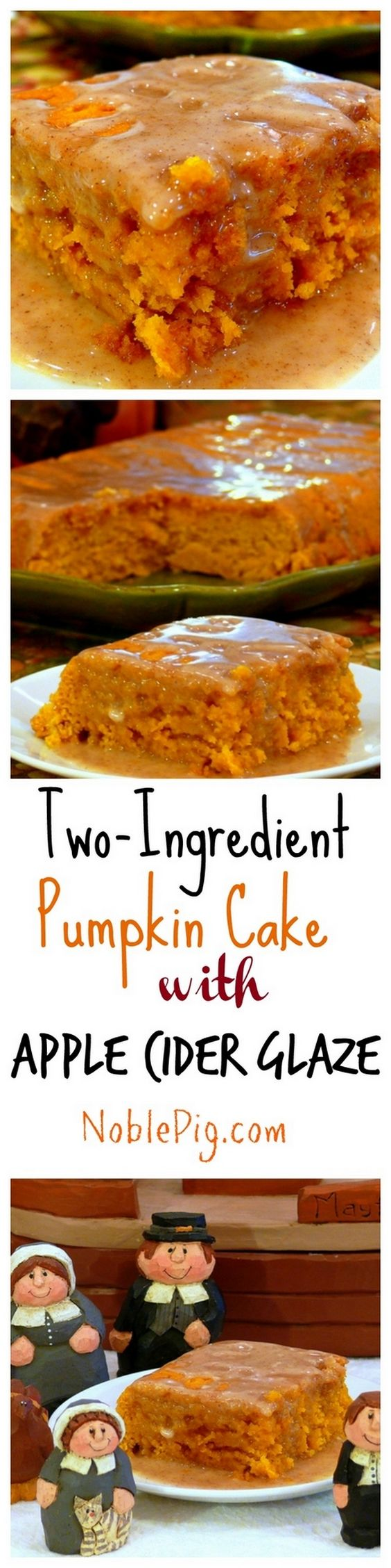 Delicious Thanksgiving Dessert Recipes: Two-Ingredient Pumpkin Cake with Apple Cider Glaze from The Noble Pig