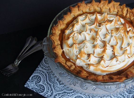 Delicious Thanksgiving Dessert Recipes: Maple Sweet Potato Pie with Toasted Swiss Meringue from Comfortably Domestic