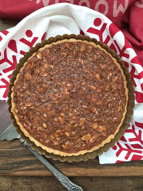 Delicious Thanksgiving Dessert Recipes: Caramel Custard Tart with Sliced Almonds and Pumpkin Seeds from Karen's Kitchen Stories