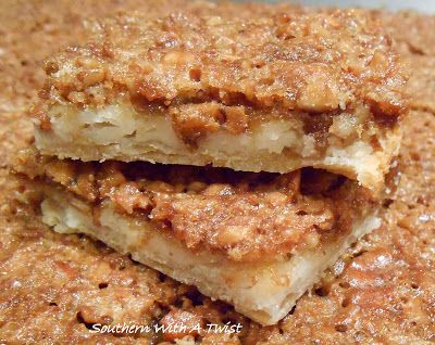 Delicious Thanksgiving Dessert Recipes: Pecan Pie Cheesecake Bars from Lynn of Southern with a Twist.