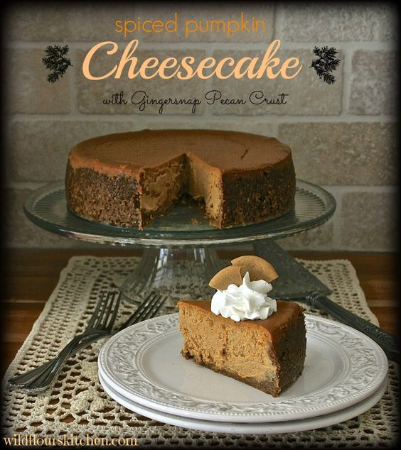 Delicious Thanksgiving Dessert Recipes: Spiced Pumpkin Cheesecake with Gingersnap Pecan Crust from Wildflour's Cottage Kitchen.