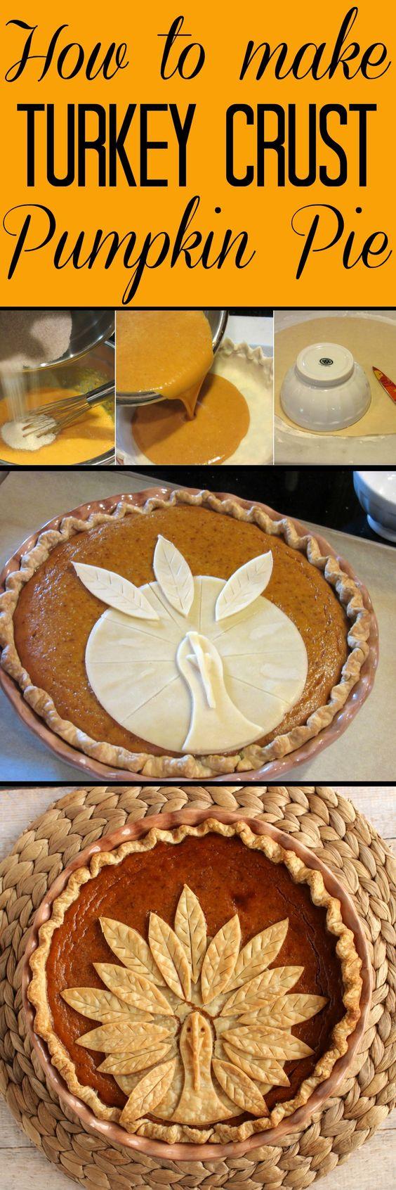 Delicious Thanksgiving Dessert Recipes: Adorable Turkey Crust Pumpkin Pie from Kudos Kitchen.
