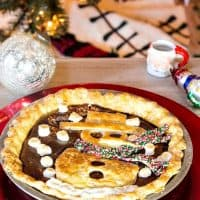 Mexican Hot Chocolate Pie with Snowman Crust Applique