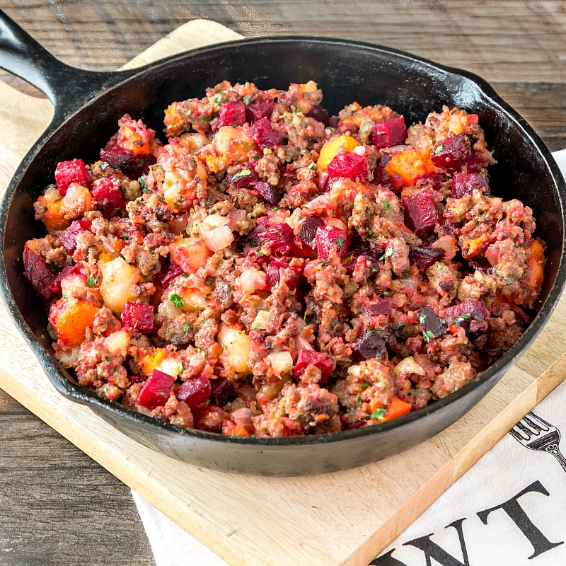 Roasted Red Flannel Hash with Country Sausage is sweet with roasted vegetables and savory with sausage. Hearty and filling on cold nights, it's irresistible with eggs and or cheese. Find the recipe at Pook's Pantry where I'm guest posting today! | pastrychefonline.com