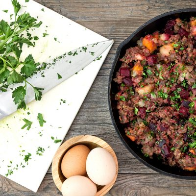 Roasted Red Flannel Hash with Country Sausage | Guest Post at Pook's Pantry