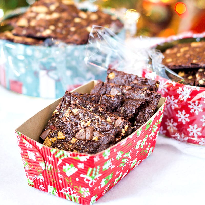 brownie crisps in decorative boxes for gifting