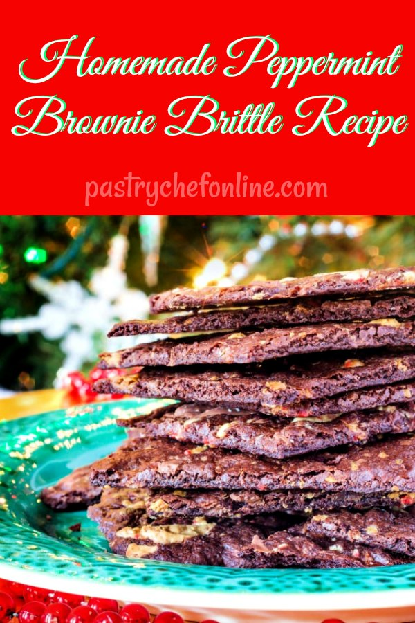 Yes, you can make brownie brittle from a boxed brownie mix, but I think homemade versions are always better. This homemade peppermint brownie brittle recipe makes a ton and is perfect for snacking or giving as gifts. Everyone loves crispy brownie brittle, and now you can make all sorts of variations! #christmascookies #homemadebrownies #browniebrittle #browniebrittlerecipe   pastrychefonline.com