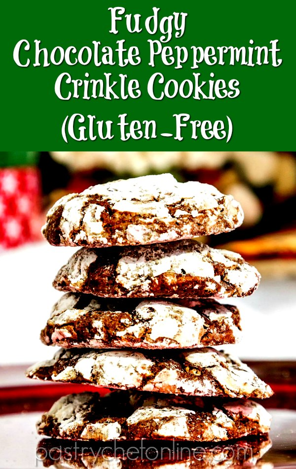 chocolate peppermint cookies stacked on a plate pin image text reads fudgy chocolate peppermint crinkle cookies (gluten-free)