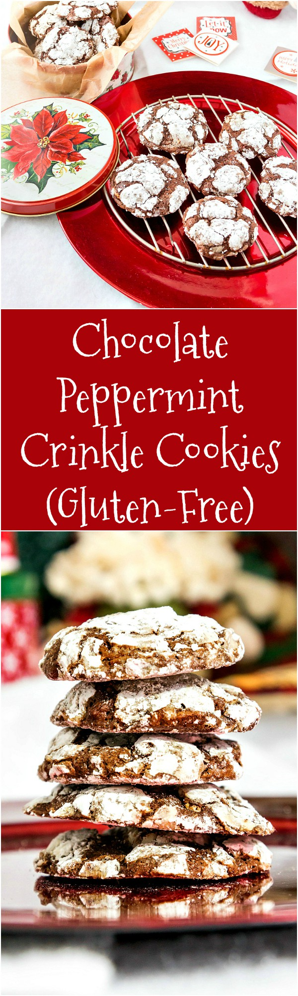 These chocolate peppermint crinkle cookies are the perfect Christmas cookie recipe for almost everyone, including your gluten-free friends and family. Rich and chocolatey with just enough mint flavoring, they're also studded with dark chocolate peppermint bark. These are like chocolate peppermint truffles in cookie form, and you are going to love them! | pastrychefonline.com