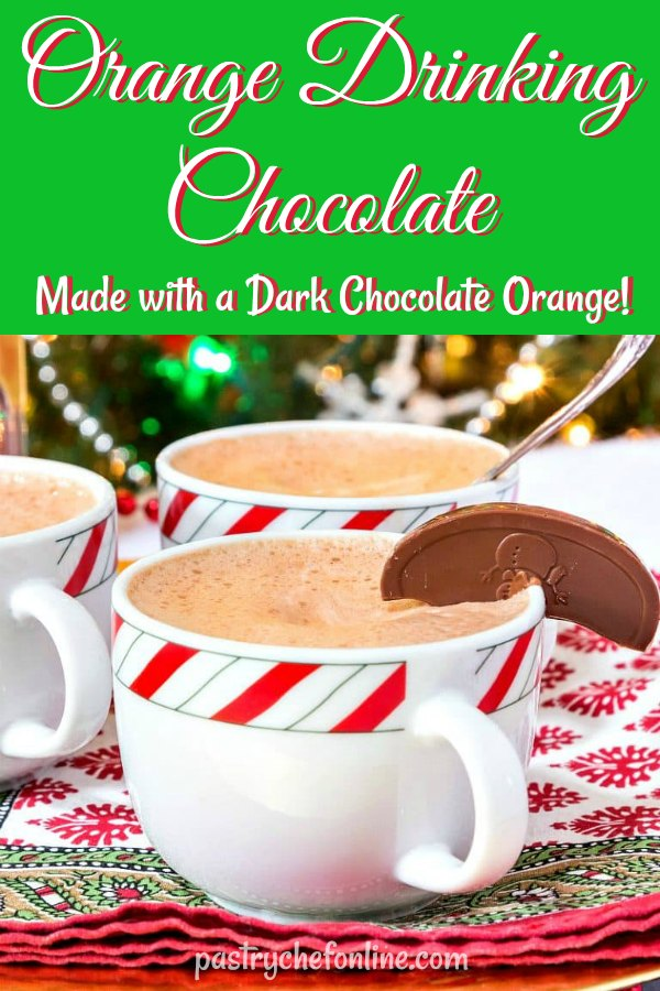 This decadent drinking chocolate is super easy to make with only 3 ingredients. Flavor it however you like, or make it with flavored chocolate. I used a chocolate orange to make my hot chocolate, and it was delicious! So, if you get a chocolate orange for Christmas, you can turn it into four mugs of hot chocolate! #hotchocolaterecipes #hotchocolate