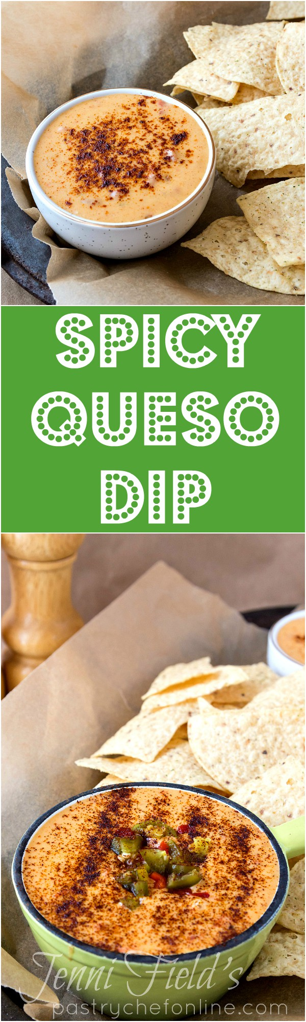 This spicy queso dip is smoky with chipotle and chunky with diced tomatoes and chiles. If you are looking for an easy and delicious queso recipe, you have found it! | pastrychefonline.com