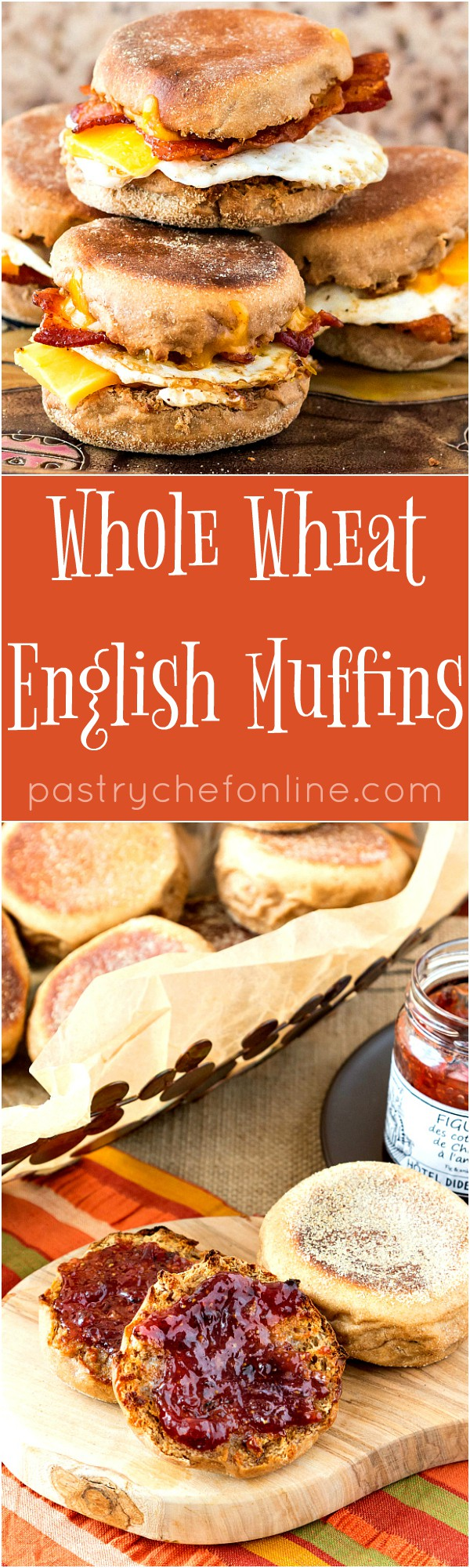 This Whole Wheat English Muffins recipe is full of flavor and has tons of nooks and crannies perfect for holding onto butter and jam. You will love these English muffins for breakfast or brunch or even for making sandwiches whenever you need a little snack. And English muffin pizzas? Absolutely! Featuring Lindley Mills Super Sprout Flour | pastrychefonline.com