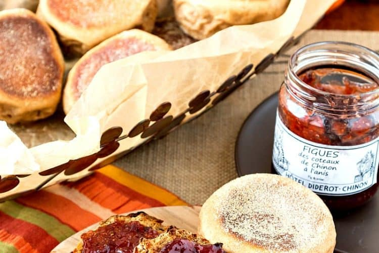 sprouted wheat English muffins split with jam