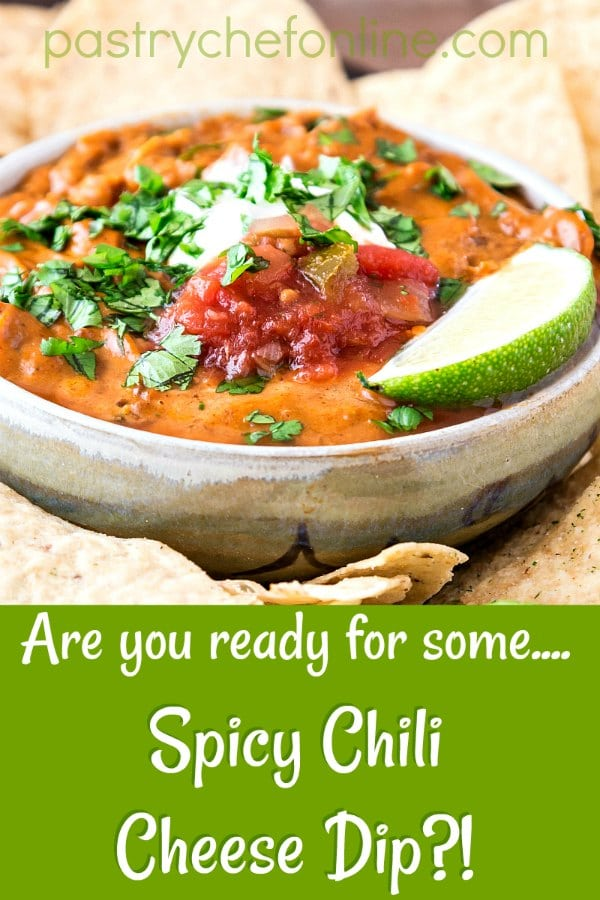 You are going to love this Spicy Chili Cheese Dip. And there are two secret ingredients that keep it from getting grainy, even when you reheat it.  If you love cheesy good appetizer recipes for a crowd, you'll want to save this one for sure! #easyrecipe #easyappetizer #cheesedip