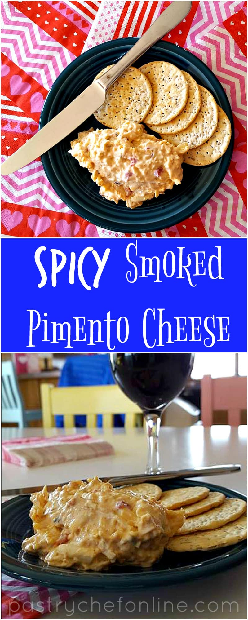This spicy smoked pimento cheese is the perfect appetizer on its own, hot or cold. It's also great as a burger condiment or in a grilled cheese. Enjoy! | pastrychefonline.com