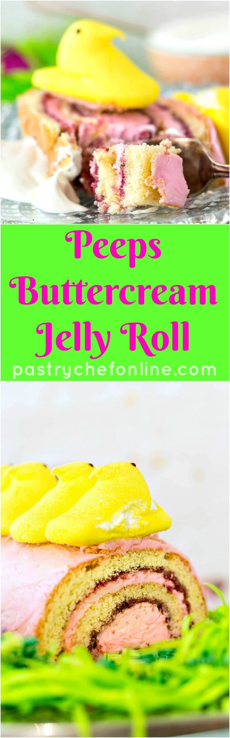 long pin image for Peeps jelly roll text reads Peeps Buttercream Jelly Roll
