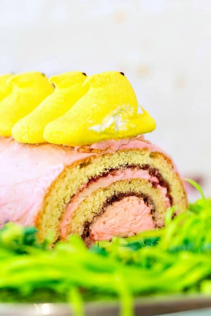Peeps Buttercream Jelly Roll | A Fun Easter Dessert Recipe