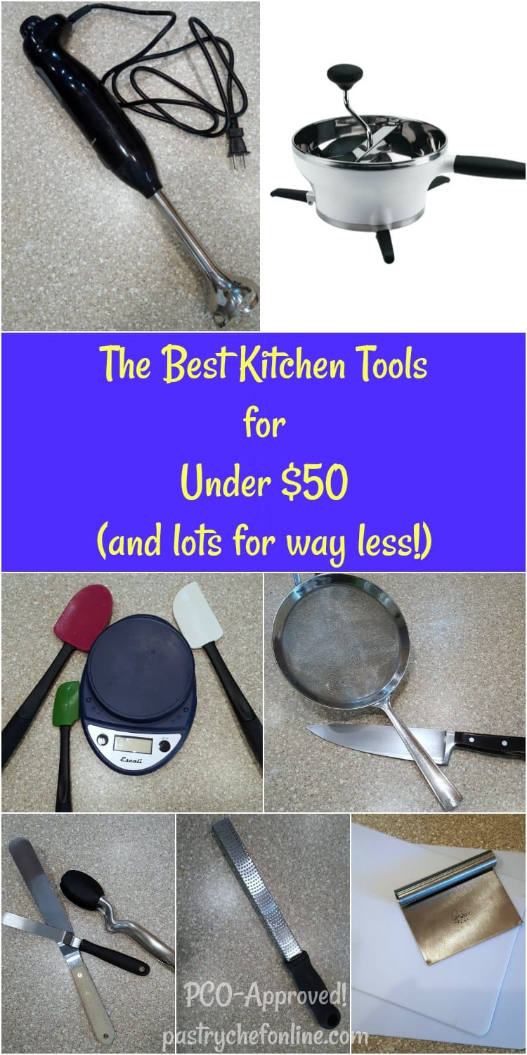 The Best Kitchen Tools Under $50, and some for under $10. Buying kitchen gadgets and equipment doesn't have to break the bank. Everything multi-tasks and I find almost indispensable. I hope you find this kitchen gadget shopping guide useful! | pastrychefonline.com