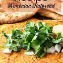 "vertical image of lahmajoun text reads ""vegan lahmajoun recipe Armenian flatbread"""