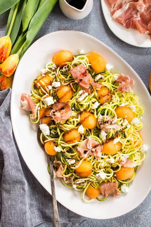 Prosciutto and Melon Zucchini Noodle Salad from The Girl in the Little Red Kitchen