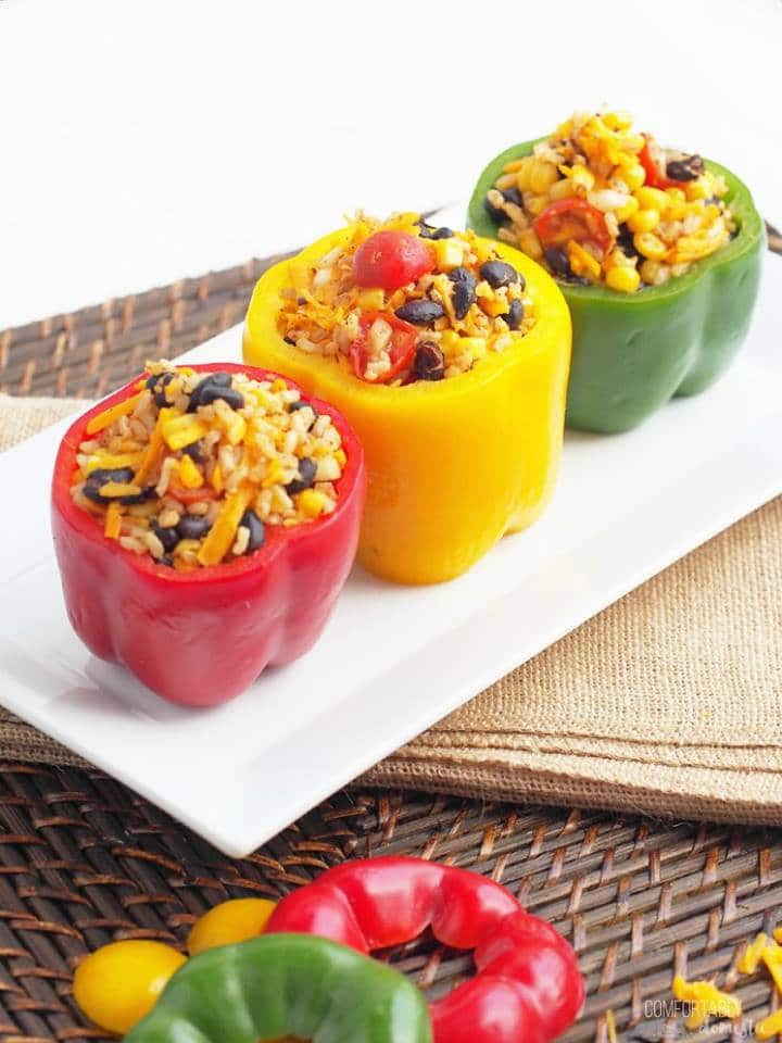 Vegetarian Tex-Mex Stuffed Peppers from Comfortably Domestic