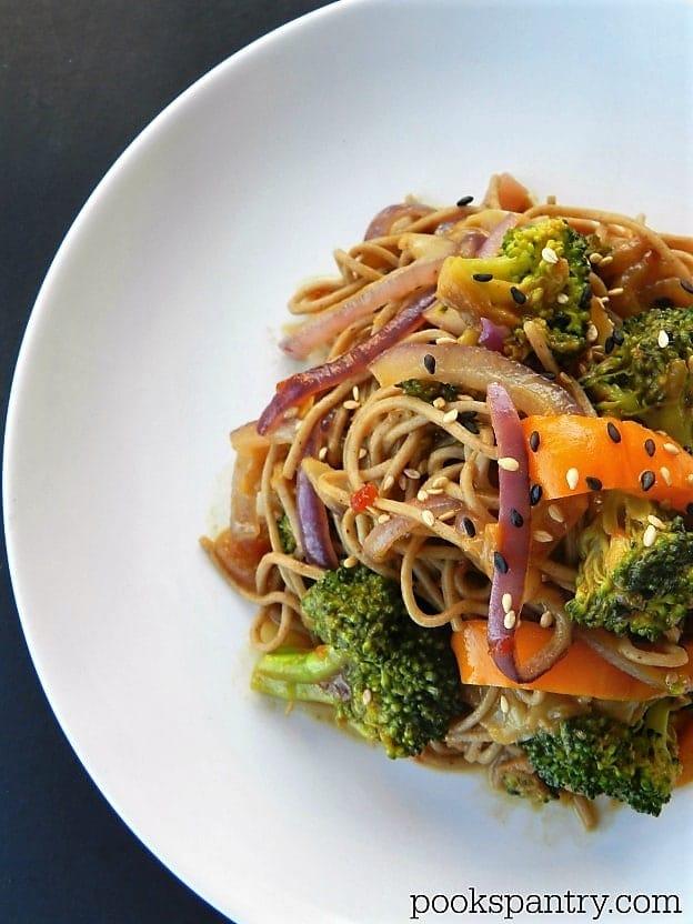 Soba Noodles with Sesame Stir-Fried Vegetables