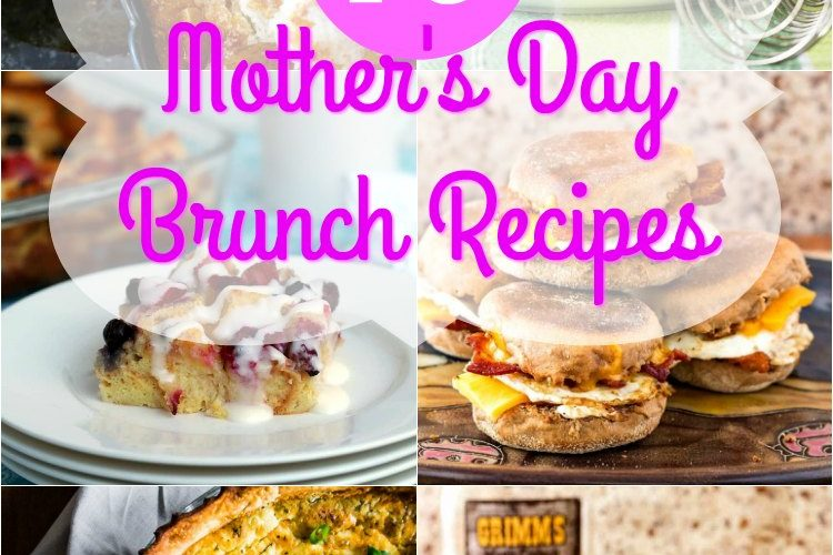 """collage of 6 square images of brunch recipes text reads """"15 mothers day brunch recipes"""""""