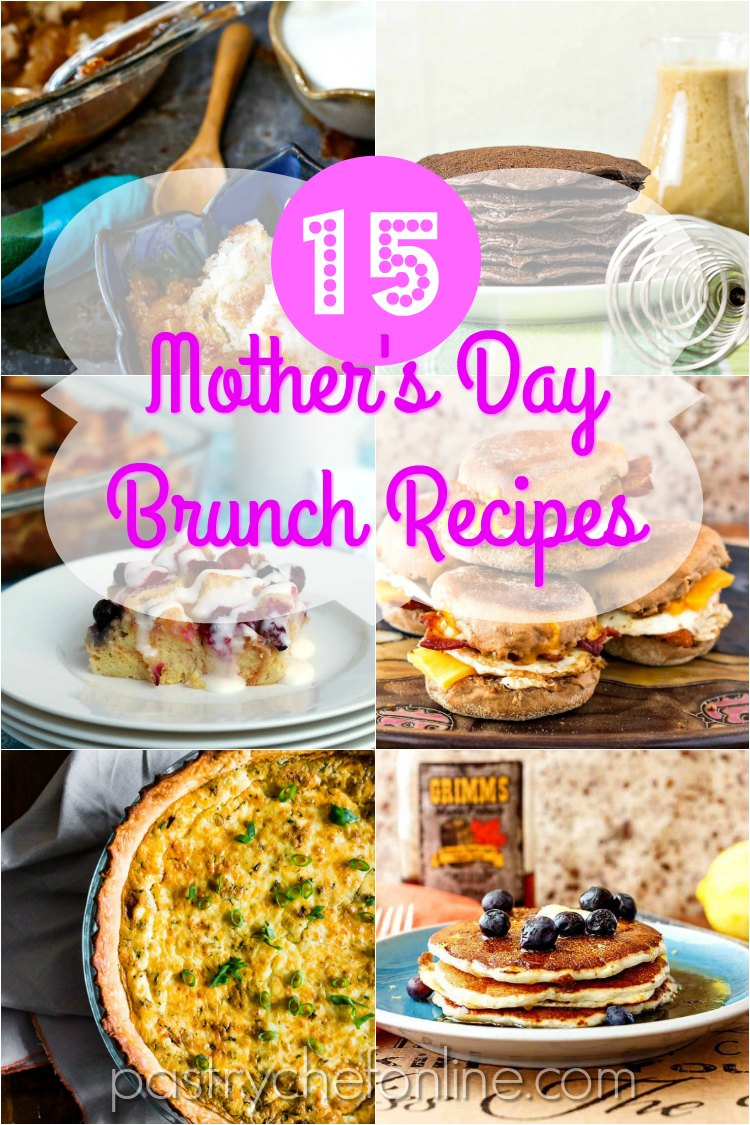 "collage of 6 square images of brunch recipes text reads ""15 mothers day brunch recipes"""