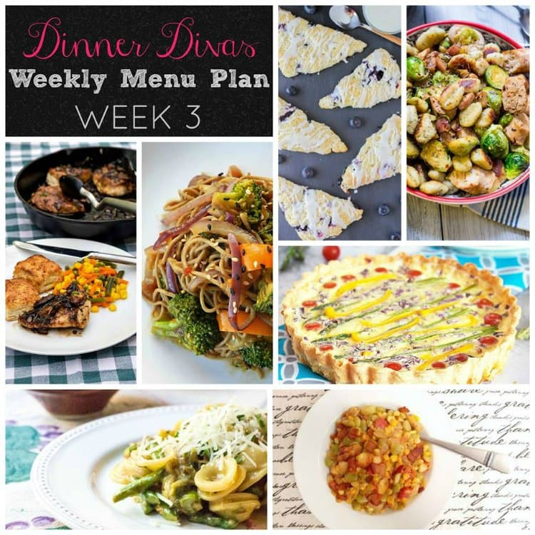 Dinner Divas weekly meal plan, week three. Pin them all for an ever-growing list of dinnertime options and extras!
