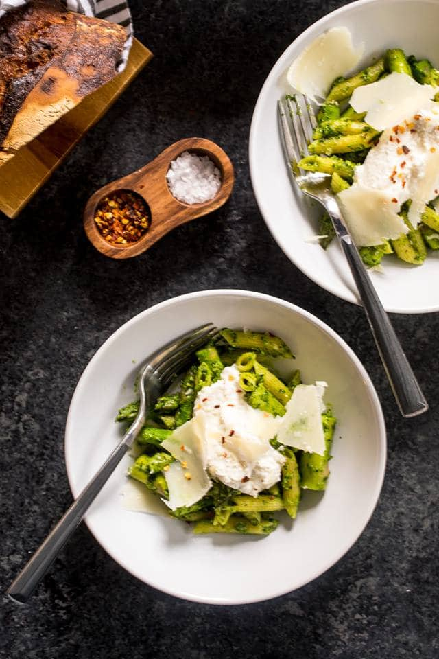 Pasta with Asparagus and Ramp Pesto