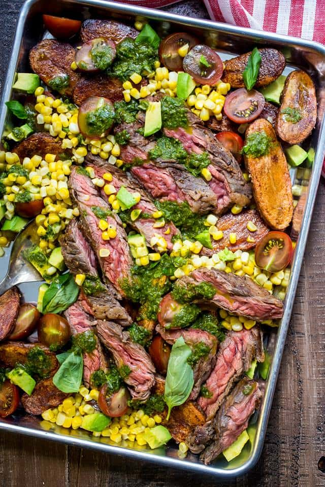 Steak and Potato Salad with Avocado, Corn, and Tomatoes