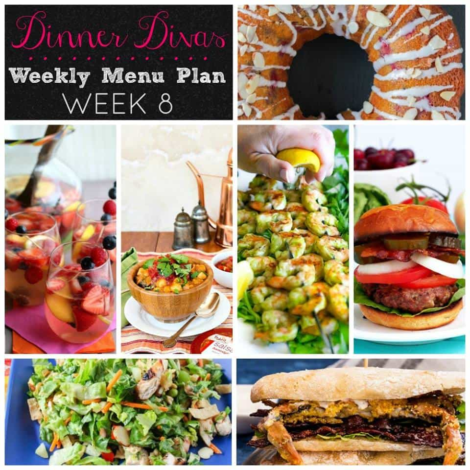 Weekly Meal Plan, Week 8 from your friendly neighborhood Dinner Divas. If you're new here, you picked a great week to start with us. Grab these fast and easy dinner recipe ideas and enjoy! | pastrychefonline.com