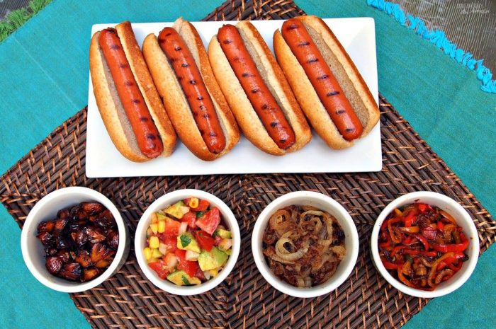 hotdogs with homemade condiments