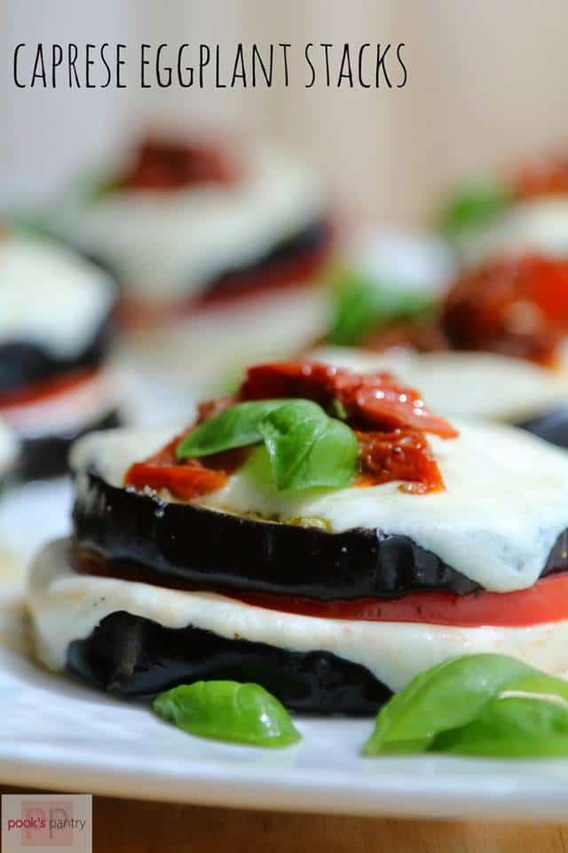 Caprese eggplant stacks