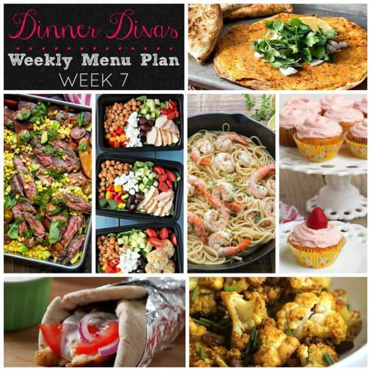 Weekly Meal Plan, Week Seven has something for everyone: vegan, meaty, chickeny, shrimpy plus a sweet-savory side and the most summery cupcake you'll ever see! | pastrychefonline.com