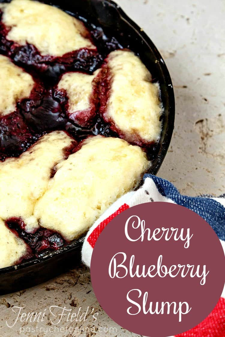 Cherry Blueberry Slump (or Grunt) is a cobbler-like dessert made by cooking a sweetened berry mixture with sweet dumplings on the stovetop. Unlike a biscuit-topped cobbler, which gets crunchy and brown in the oven, these dumplings stay soft and moist since they're steamed. It's a great alternative to a pie since you don't have to turn on the oven. Enjoy this summer cherry berry dessert! #summerdessert #fruitdessert #cobbler | pastrychefonline.com