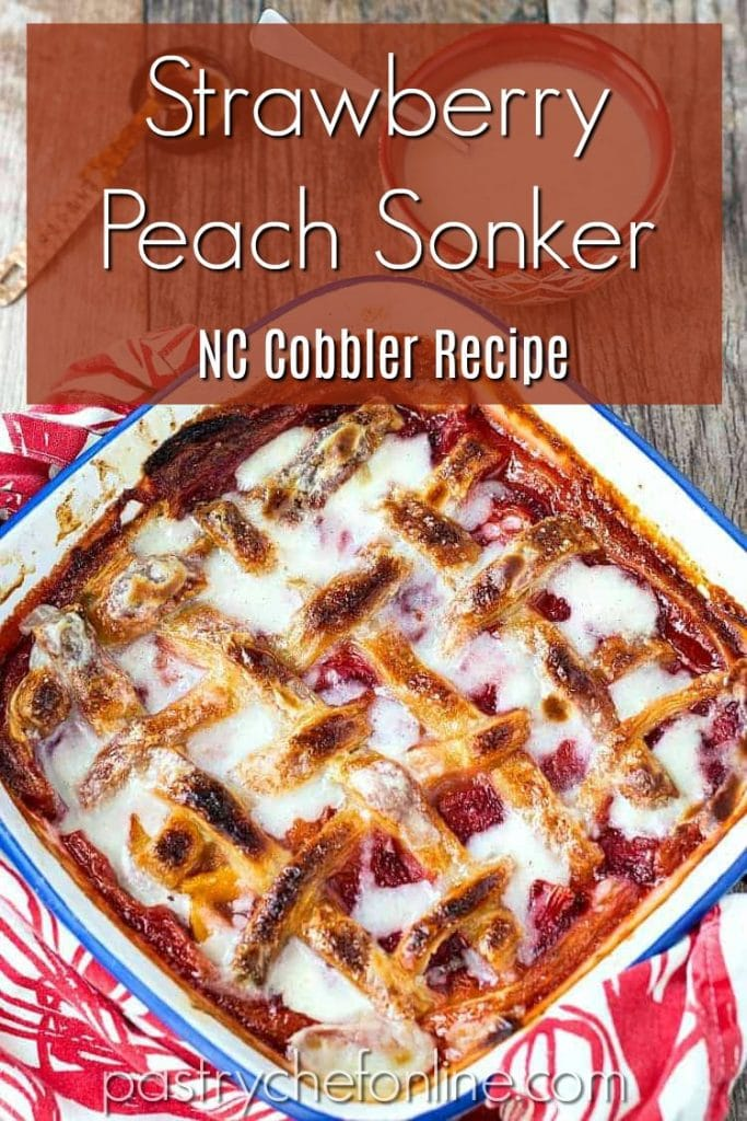 "pin image for strawberry peach sonker text reads ""strawberry peach sonker NC Cobbler Recipe"