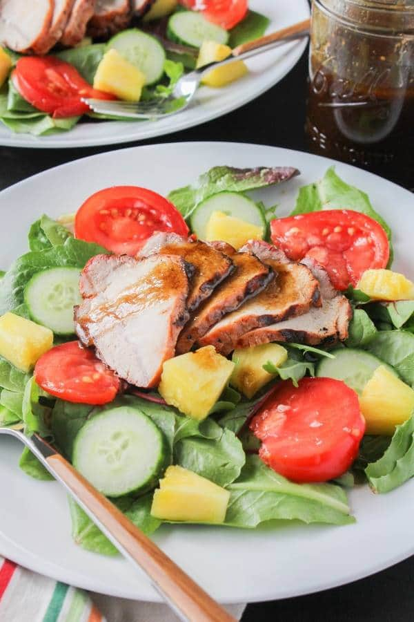 grilled pork and pineapple salad with simple vinaigrette