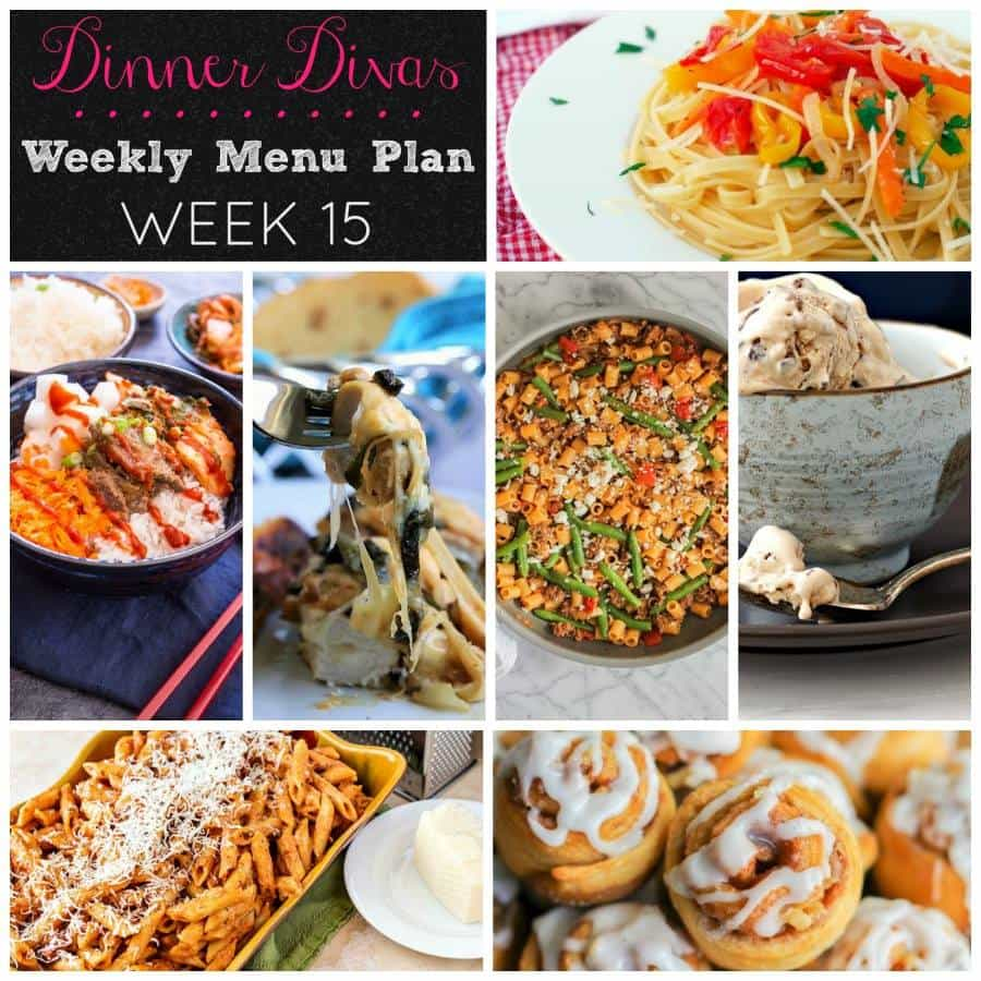 Dinner Divas weekly meal plan this week--week 15--is all about fast and easy 30 minute meal recipes! | pastrychefonline.com