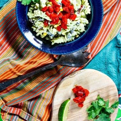 Mexican Pasta Salad (Vegan Option) with Green Goddess Dressing