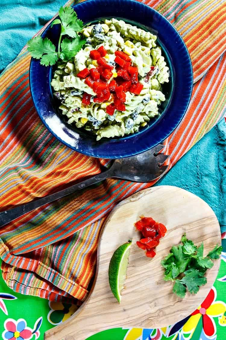 This Mexican Green Goddess Pasta Salad with a vegan option will be the hit of the pot luck or picnic. Tangy, creamy, and packed with herbs, you're going to love this fresh pasta salad recipe. | pastrychefonline.com