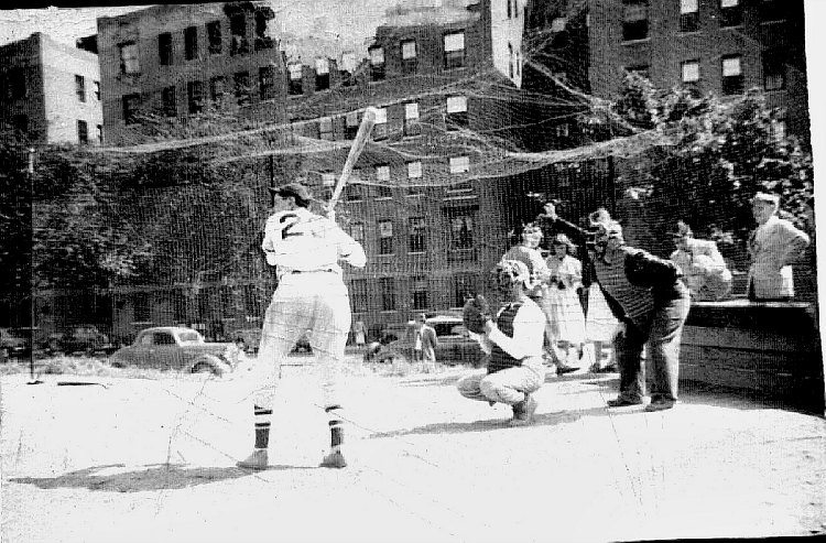 kids playing baseball in Queens, New York, mid-20th century