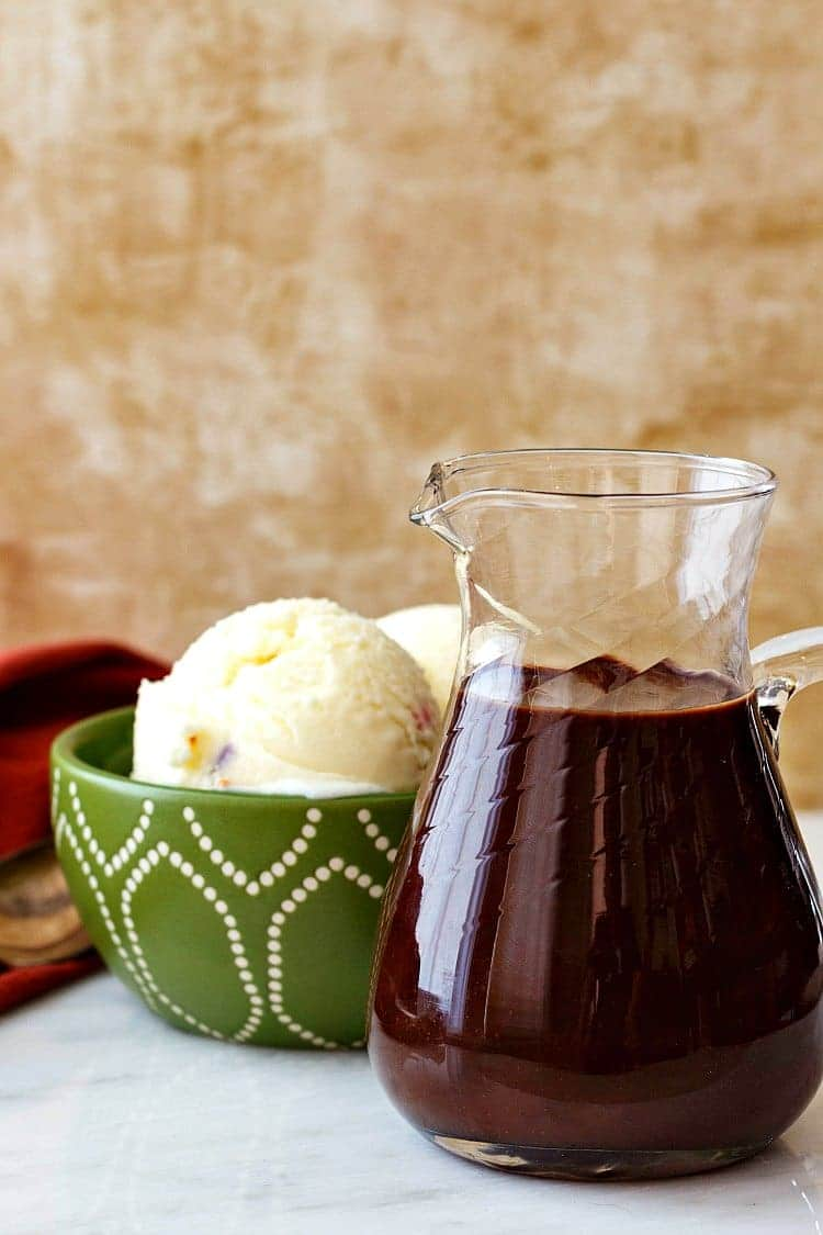 """This is the best quick hot fudge sauce you're going to find, friends. It takes about 10 minutes to make, if that, and is nice and complex thanks to a couple of """"secret"""" ingredients I add. You are going to love this quick hot fudge sauce recipe. I promise. 