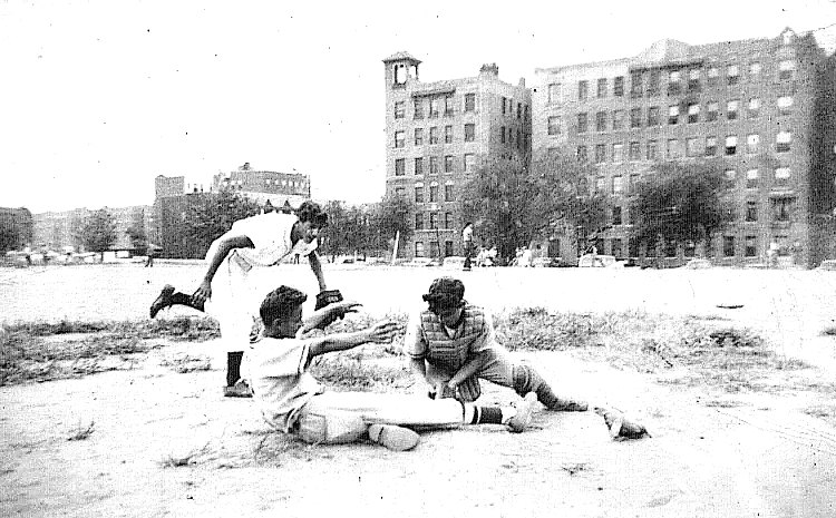 tie goes to the runner. kids practicing ball in mid-20th century Queens, NY