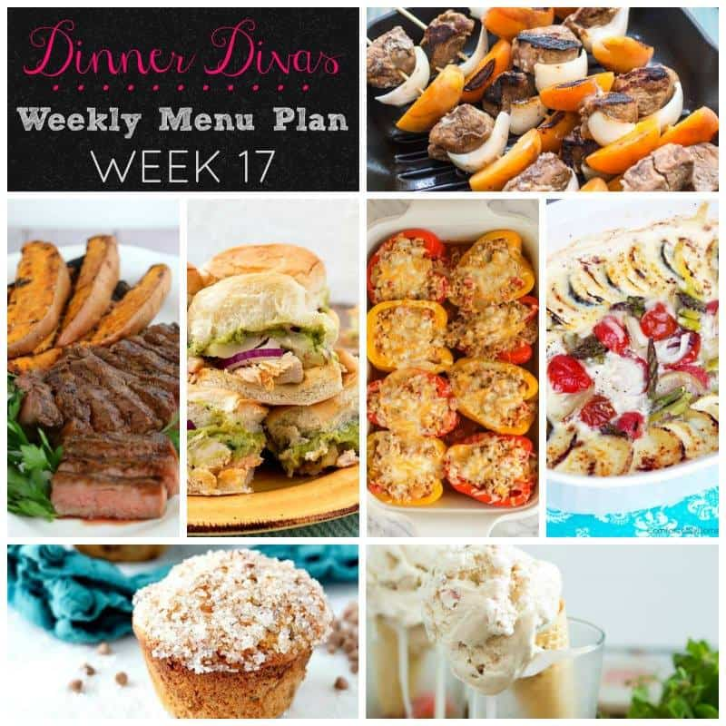 Dinner Divas weekly meal plan, week 17. 5 mains and 2 extras. Helping you get dinner on the table every night!