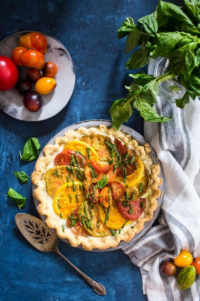 caprese tart with olive oil crust