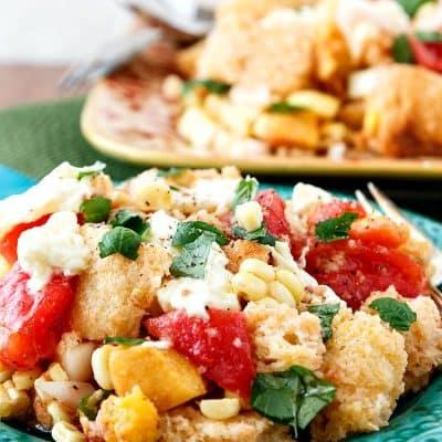 Summer Tomato Peach Panzanella | Progressive Eats