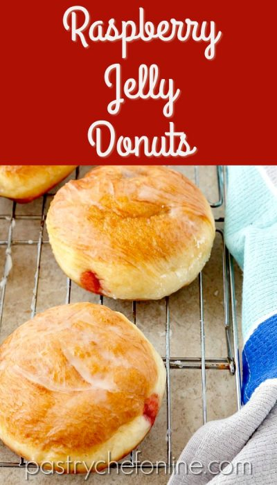 "image of glazed, filled doughnuts on a cooling rack. Text reads ""Raspberry Jelly Donuts"""